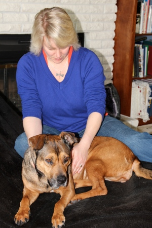 At first Mandy wouldn't take Reiki from me because I am her alpha.  After having one of my students do Reiki on her and me doing some long distance, she soon started taking Reiki from me and is very happy with it now.