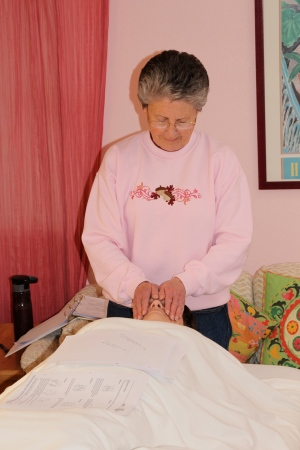 Practice session during a Reiki I class.  Photo by Joss Streett, please link if used.