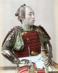 Picture of a Samurai Warrior, 1890, hand colored.