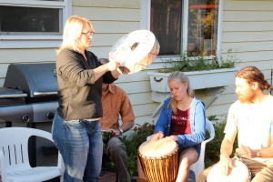 Divine told me to get out of my chair and drum on each person in the circle.  So, I listened. It was better for me too since moving around is preferable for me to sitting.  It was healing for me to be able to move and dance to the beat of the drums.