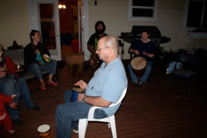 People who wanted stronger vibrations for healing were invited to sit in the center and feel the vibrations coming from all sides.  Then I would bring my Reiki Attuned drum and play on the chakras I was guided to play to.