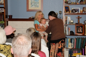 Nursing babies and pets are often participating in events at my house.  Even Baby Grace had her soul ray reading.