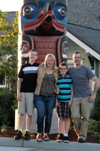Streett Family in front of the Sequim Civic Center Totem Pole donated by the local indian tribe, Jamestown Sklallam